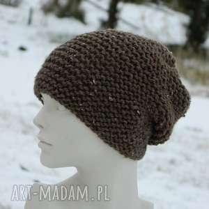 czapki tweed brązowy - na prawo zimowa czapa, tweedowa, nakrapiana, przaśna
