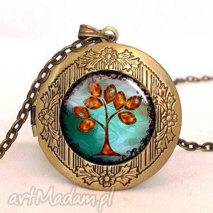 handmade naszyjniki złote drzewo - sekretnik z łańcuszkiem
