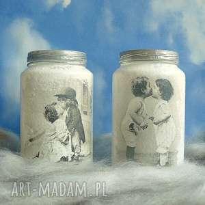 vintage dzieci szklane słoiczki ręcznie malowane - decoupage