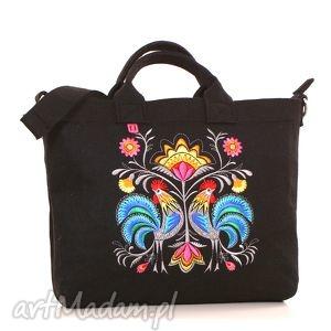 ciemna filcowa torba z folkowymu kogutami, torebka, filcowa, haftowana, laptop, folk