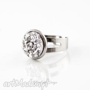 Prezent Pierścionek srebrne druzy, pierścionek, prezent, impreza, elegancki
