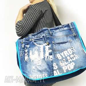 na ramię duża torba upcykling jeans 7 fihsbone od majunto, eco torba