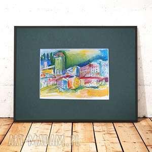 miasteczko akwarela, obrazek ręcznie malowany, kolorowy szkic, pejzaż akwarela