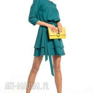 tessita elegancka sukienka z podwójną spódnicą, t320, szmaragdowa