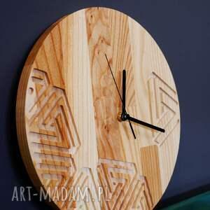 zegar ścienny z drewna dębowego,frez,wzór nr 2, ścienny, modny
