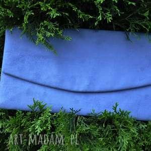 ręcznie robione kopertówka z alcantary - szaroniebieska