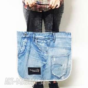 duża torba upcykling jeans 17 g-star od majunto, g star, upcykling, jeans
