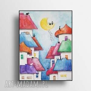 bajkowe miasteczko-akwarela formatu a5, akwarela, koty, miasteczko