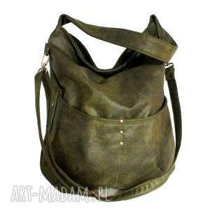 na ramię workówka vegan zieleń, torba, torebka, lato, worek, boho, hobo