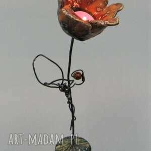 hand-made ceramika świecznik kwiat iii