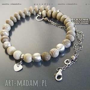 handmade naszyjniki srebro, naszyjnik krzemień pasiasty z sandomierza