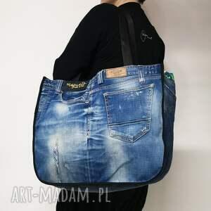 na ramię duża torba upcykling jeans pull bear 78 od majunto