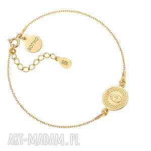 złota bransoletka z medalionem, medalion, moneta, antyczna, zawieszka, pozłacana