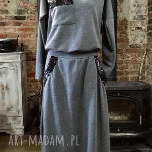 Tess sukienka, dresowa, maxi, wygodna, szara, bawełniana, elegancka