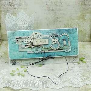 Męska kartka kopertówka - moc życzeń scrapbooking kartki