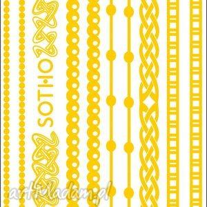 zestaw złotych metalicznych tatuaży bransoletek no 4 - złota