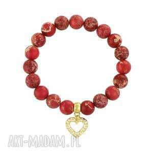 caesar - red aurora jasper., jaspis, serce