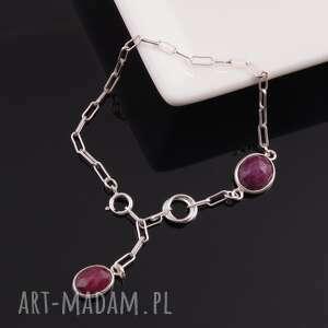 bransoletka z rubinów 1, rubiny, fasetowane, srebrna, bransoletka, delikatna