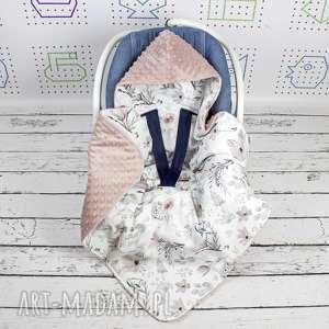 dla dziecka duży kocyk do fotelika samochodowego magnolie, kocyk, magnolie