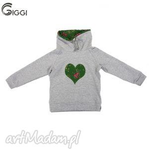 Szara bluza zielone serce 74-116, bluza, goralska,
