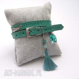 Pasek ANGEL /sea green/ -bransoletka, srebro, oksydowane, skóra, rzemień, swarovski