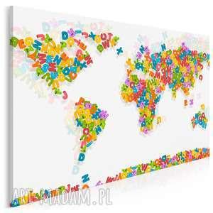 obraz na płótnie - mapa litery alfabet 120x80 cm 85501, mapa