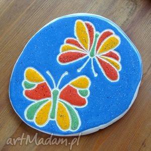 ceramiczna deseczka, ceramika, kolorowa, podstawka, podkładka, motyle dom
