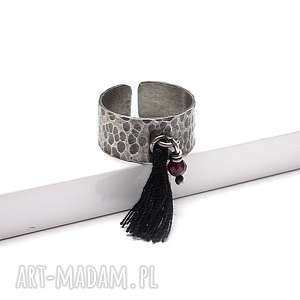 Snake /boho/ - pierścionek, srebro, oksydowane, chwost, boho, metaloplastyka, granat