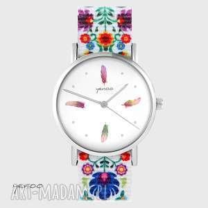 zegarek - kolorowe piórka folk biały, nato, zegarek, bransoletka, piórko
