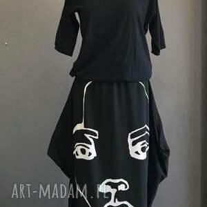unikalny, face to sukienka, maxi aplikacja, oryginalna, czarna