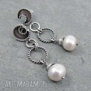 perłowe księżyce na orbitach, sztyfty, księżyc, wiszące, ślubne, boho, perły