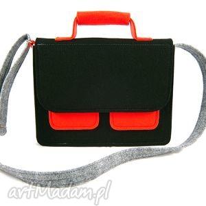 Mess gray-black-red - ,torebka,listonoszka,filc,