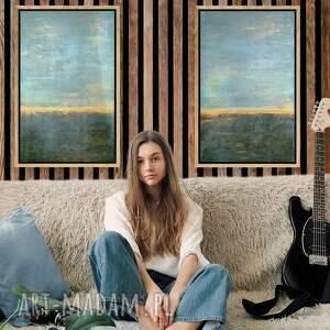 komplet obrazów horyzonty złoto turkus, akrylowy, obraz abstrakcyjny, nowoczesny