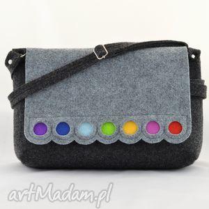 handmade na ramię torebka filcowa - nowa listonoszka z kropkami