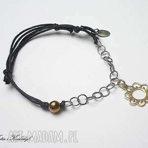 black flower - bransoletka, srebro, pozłacane, sznurek, hematyt, delikatna