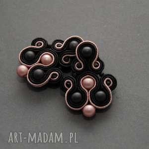 czarno-różowe klipsy sutasz, sznurek, wiszące, wieczorowe, eleganckie, delikatne