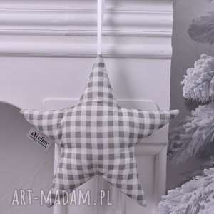 gwiazdka świąteczna w kratkę, gwiazdka-święta, ozdoby-świąteczne