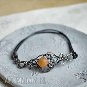 pomarańczka - bransoletka z agatem w boho stylu, kamień