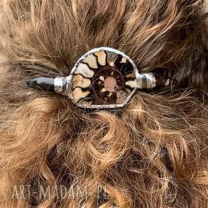ozdoby do włosów spinka - amonit i agat, spinka, włosy, tiffany
