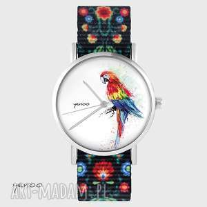 zegarki zegarek - papuga folk czarny, nato, zegarek, bransoletka, folkowy