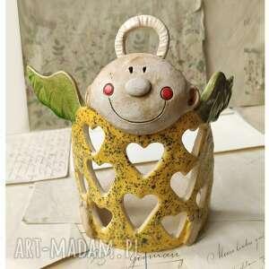 wylegarnia pomyslow anioł lampion w ażurowe serca, ceramika, anioł
