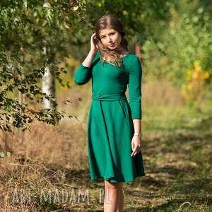 sukienki sofi sukienka rozkloszowana z rękawem 3/4, butelkowa zieleń