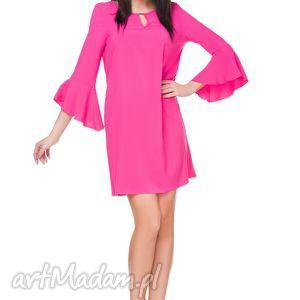 Sukienka szyfonowa T173, ciemnoróżowa - sukienka, szyfonowa, falbanka, elegancka