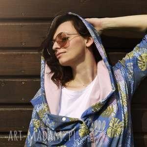 bluzy długa bluza oversize w liscie i kwiaty ogromny kaptur, kolorowa xs