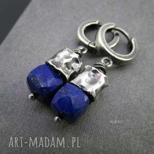 Gniecione walce z lapis lazuli, srebro, oksydowane, lapis, kolczyki