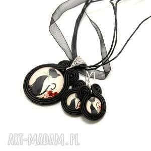 komplet biżuterii sutasz - koty, soutache, wisiorek, kolczyki, sznurek,