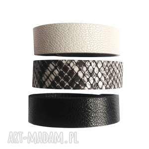 ręczne wykonanie komplet trzech bransolet skórzanych czarny ecru wąż