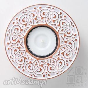 lampion barokowy biały, lampion, świecznik, ceramika, dom, dekoracja, ozdoba