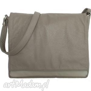 ręcznie robione teczki 35-0005 beżowa torebka aktówka damska do szkoły i na studia robin