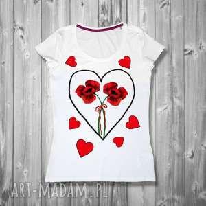 ręcznie malowana artystyczna bluzka z bawełny- maki i serduszka, damski